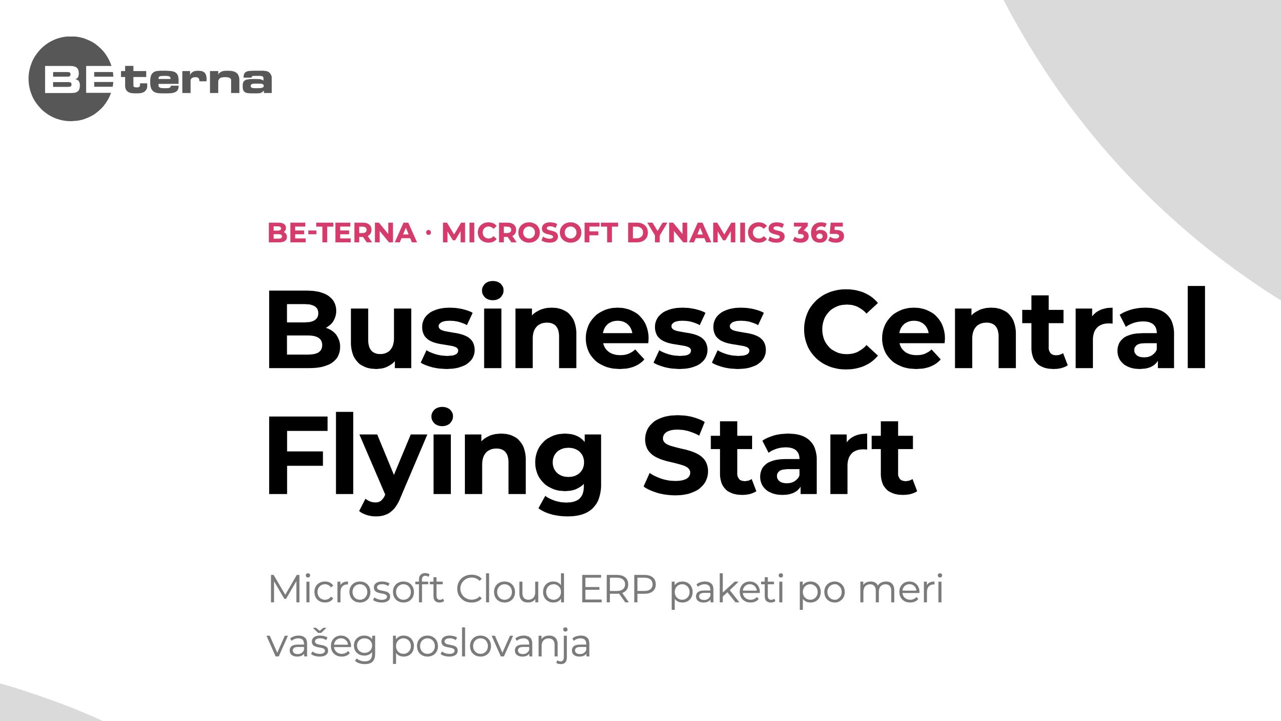 Brošura o ERP rešenju Business Central Flying Start
